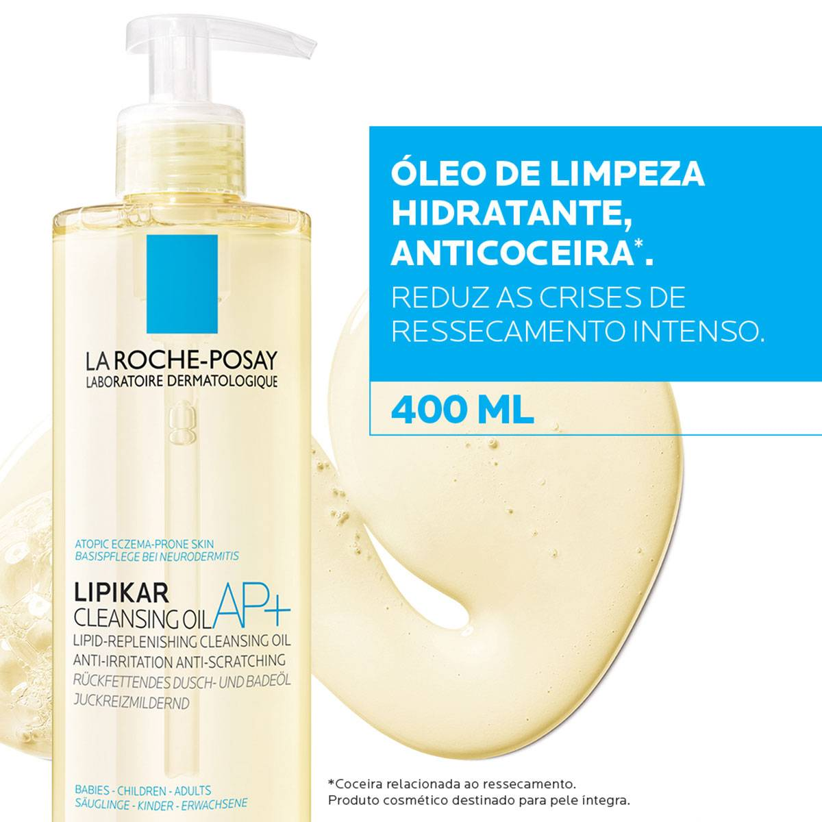 Imagem demonstrando o novo Lipikar Cleasing Oil AP+ 400ml | La Roche-Posay