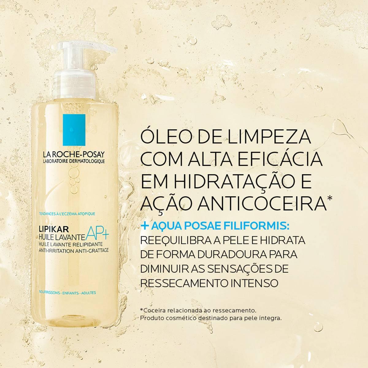 Imagem do novo Lipikar Cleasing Oil AP+ 400ml, óleo de limpeza com alta eficácia em hidratação e ação anticoceira | La Roche-Posay